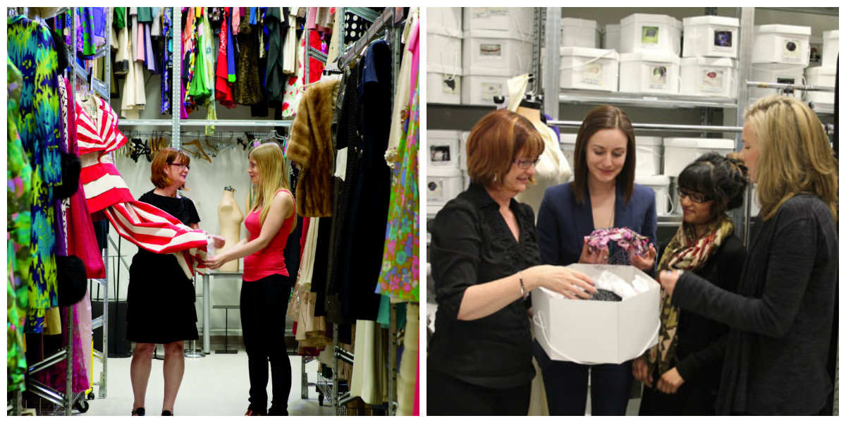 Dale Peers working with students at the Fashion Resource Centre
