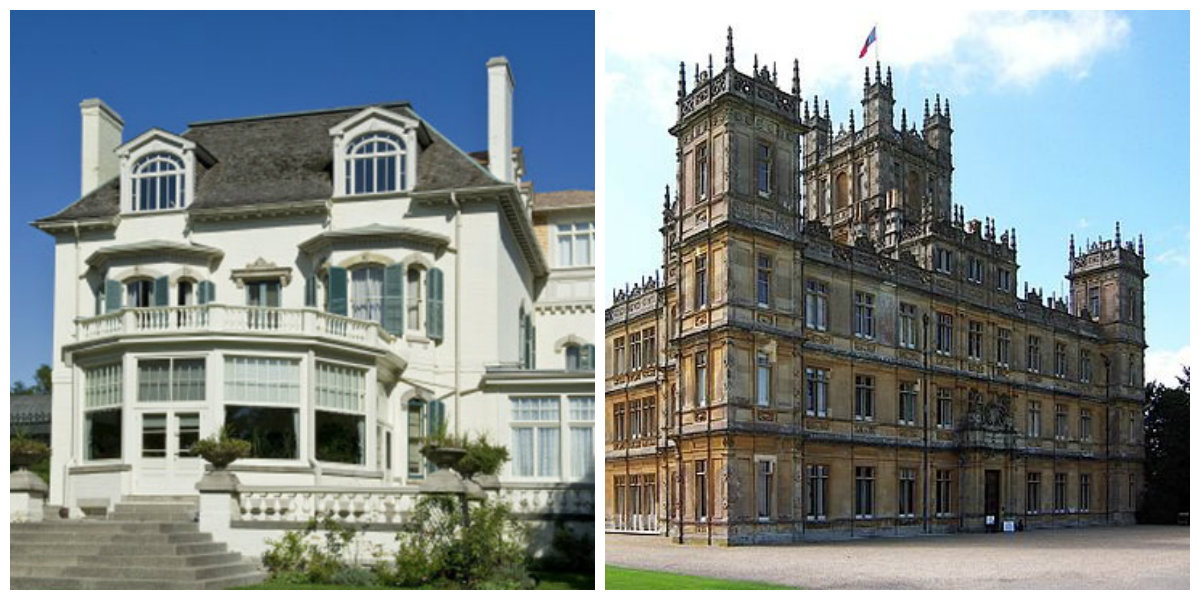 Left: Spadina House, Right: Set of Downton Abbey (Highclere Castle)