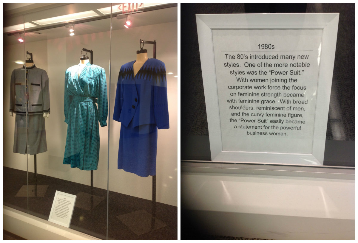 Display featuring outfits from the 1980s