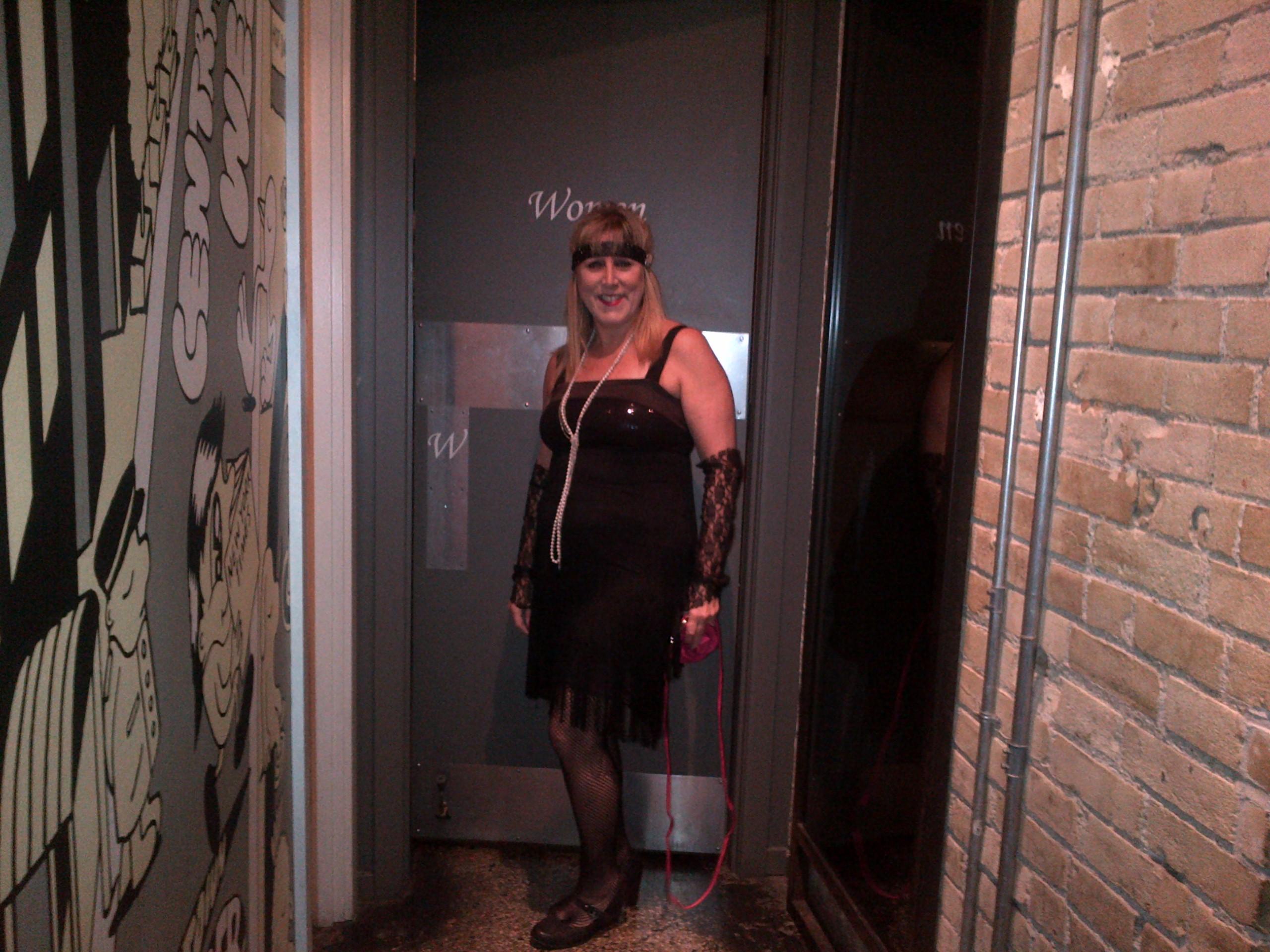 Seneca College English professor Rona Kaushansky in a flapper dress