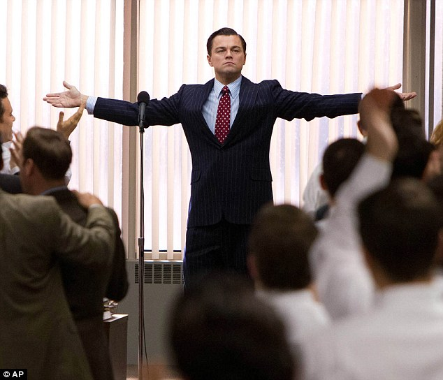 "Leonardo DiCaprio in the film ""Wolf of Wall Street"""