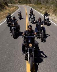 "Motorcycle gang from TV series ""Sons of Anarchy."" Image from http://miamiherald.typepad.com/"