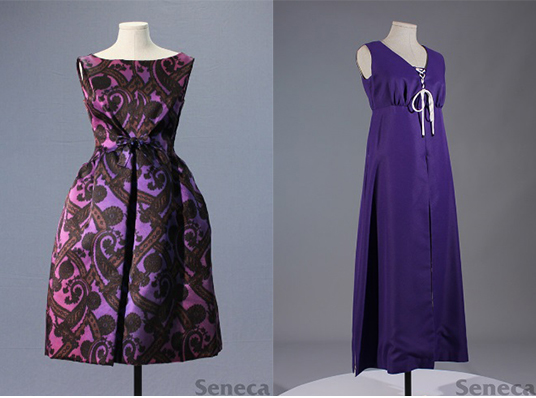 Purple Givenchy Cocktail dress (Left), Purple Hot Pants (Right)