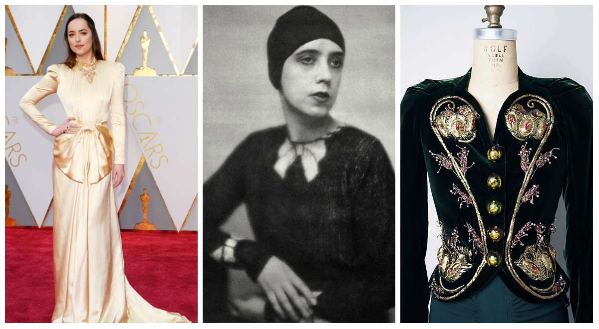 Dakota Johnson (left), image from http://www.mirror.co.uk/3am/celebrity-news/oscars-2017-fashion-gold-white-9924400; Elsa Schiaparelli (center), image from http://manifesto-21.com/schiaparelli-ou-la-renaissance-du-phenix/; Sweater by Elsa Schiaparelli (right), image from http://www.metmuseum.org/toah/works-of-art/2009.300.1354/