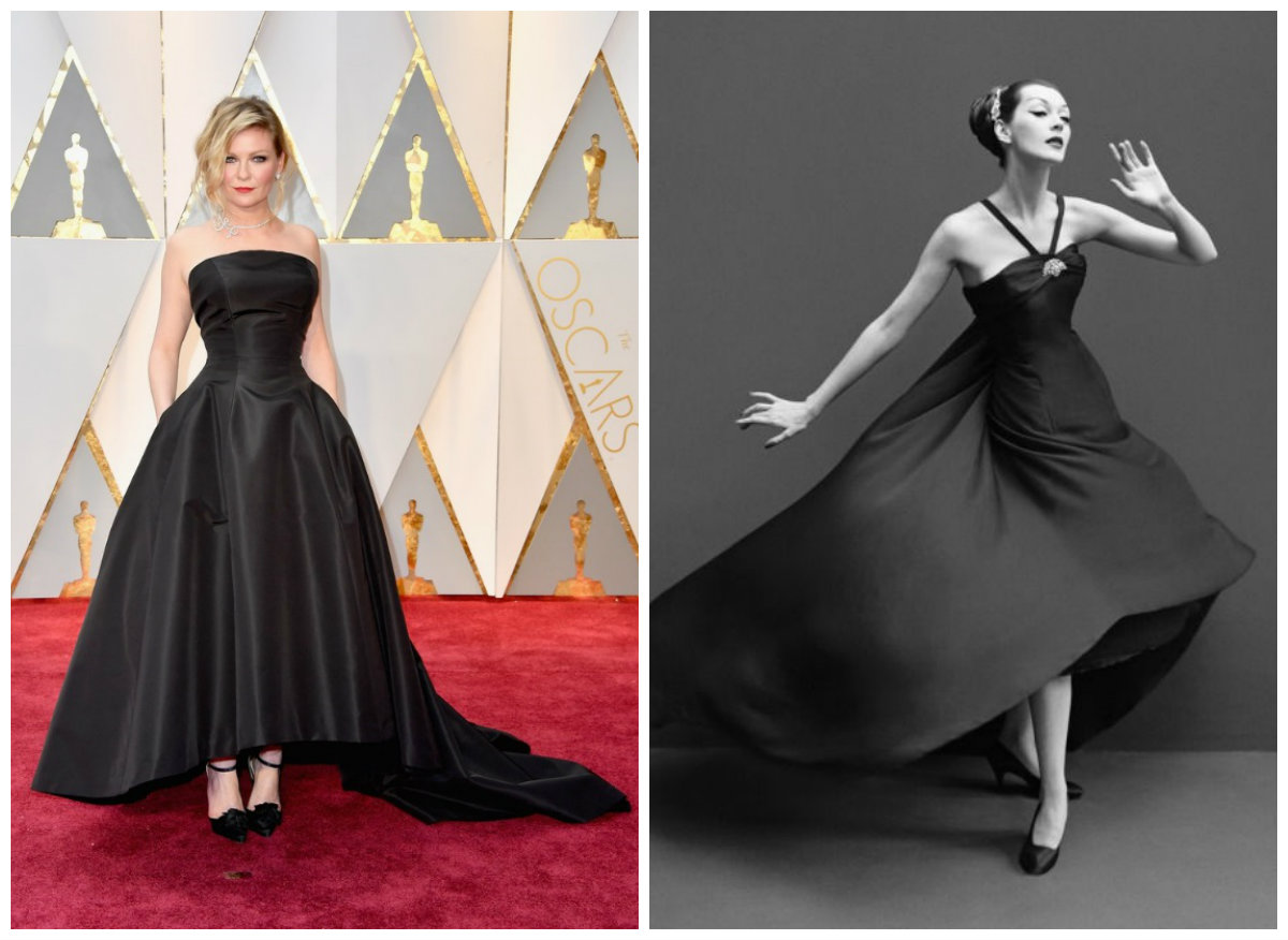 Kirsten Dunst (left, image from http://www.flare.com/celebrity/red-carpet-fashion/2017-oscars-best-dressed-worst-dressed/); Dovima (right), image from http://azzurrodue.com/tag/richard-avedon/