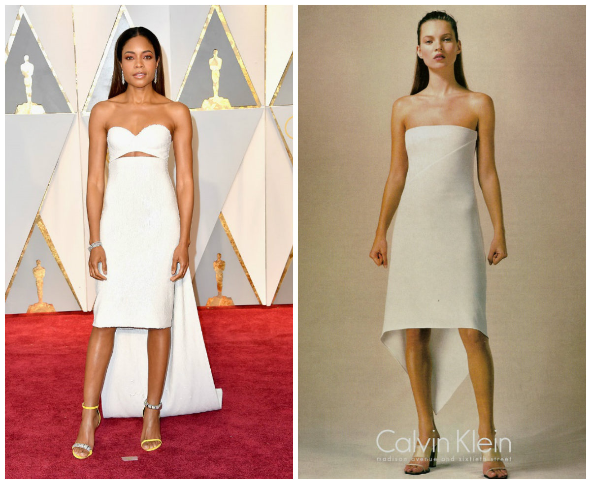 Naomi Harris (left), image from http://www.vogue.com/article/oscars-2017-red-carpet-dresses-fashion-trends; Kate Moss, image from http://www.supermodelstars.com/advertisings/calvinklein/