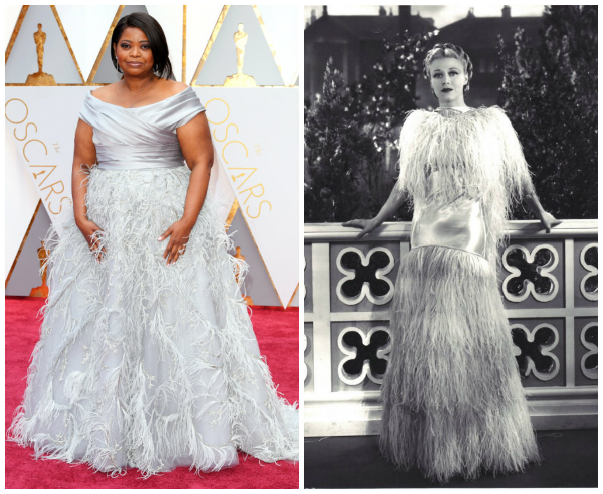 Octavia Spencer (left), image from http://people.com/awards/celebs-oscars-red-carpet-arrivals/