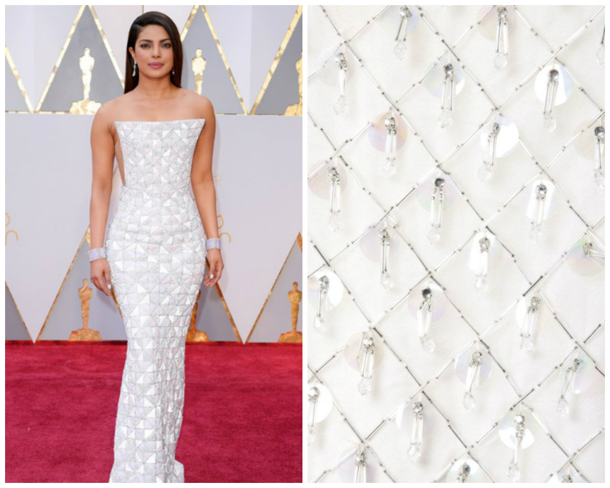 Priyanka Chopra (right), image from http://www.manoramaonline.com/photogallery.oscar-2017.html; Fabric (right), image from https://www.1stdibs.com/