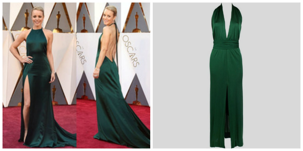 Rachel McAdams (left), image from https://www.popsugar.com/fashion/Rachel-McAdams-August-Getty-Dress-Oscars-2016-40394949; Halston Dress (right), image from https://www.1stdibs.com/