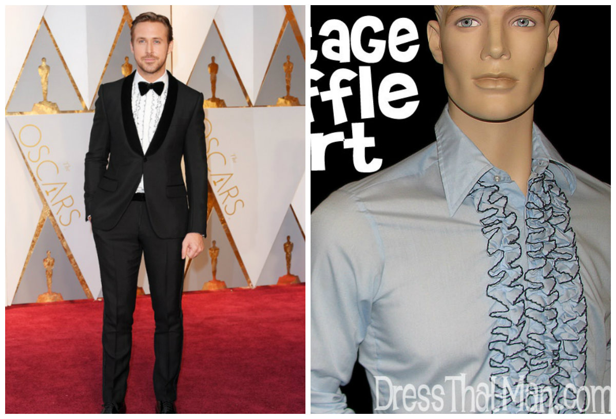 Ryan Gosling (left), image from http://www.yorkdale.com/oscars-2017-best-dressed/; Ruffle Shirt (right), image from dressthatman.com